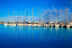 Porto del porticciolo di Denia in Alicante Spagna con le barche Fotografie Stock Libere da Diritti