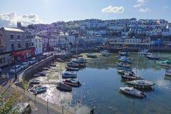 Porto del porto di Brixham e città Torbay Devon Endland Regno Unito Fotografia Stock Libera da Diritti