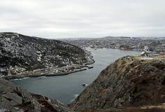 Porto del ` s di St John di vista dell'angolo alto nell'inverno Immagini Stock