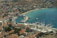 Porto dell'isola di Lemnos in Grecia Porto greco a Limnos Fotografia Stock Libera da Diritti