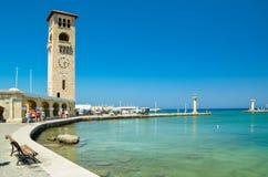 Porto dell'isola di Rodi di estate Grecia immagine stock