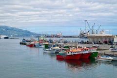 Porto della città di Ponta Delgada, isola di Miguel del sao, Azzorre, Portogallo Fotografia Stock Libera da Diritti
