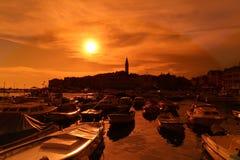 Porto della città di Rovigno in Croazia Immagine Stock Libera da Diritti