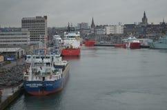 Porto della Scozia - di Aberdeen, ingresso principale per l'olio del Mare del Nord ed industria offshore del gas Fotografie Stock