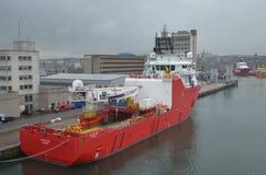 Porto della Scozia - di Aberdeen, ingresso principale per l'olio del Mare del Nord ed industria offshore del gas Fotografia Stock Libera da Diritti