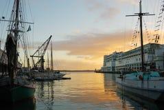 Porto di Auckland all'alba immagine stock