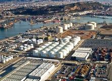 Porto di Barcellona, Spagna, vista aerea Fotografia Stock Libera da Diritti