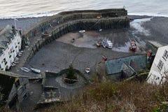Porto di Clovelly, Devon nell'inverno Fotografie Stock Libere da Diritti