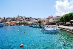 Porto di Emborio, isola di Halki immagine stock