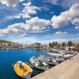 Porto di Fornells in barche Balearic Island del porticciolo di Menorca fotografia stock