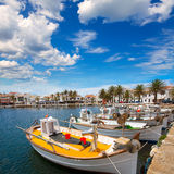 Porto di Fornells in barche Balearic Island del porticciolo di Menorca immagini stock