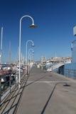 Porto di Genova con passeggiata Fotografie Stock Libere da Diritti