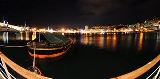 Porto di Genova nella notte Fotografia Stock