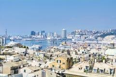 Porto di Genova, panorama fotografia stock