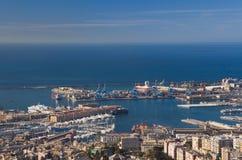 Porto di Genova, panorama Immagine Stock