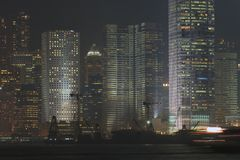 Porto di Hong Kong, scena di notte Fotografie Stock