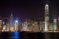 Porto di Hong Kong Victoria alla notte Fotografia Stock Libera da Diritti