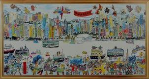 Porto di Hong Kong Victoria del disegno illustrazione di stock