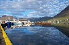 Porto di Isajfordur, Islanda Fotografia Stock Libera da Diritti