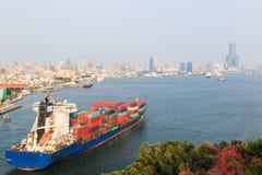 Porto di Kaohsiung in Taiwan al tramonto Fotografia Stock