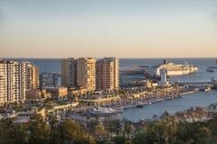 Porto di Malaga da Gibralfaro immagine stock libera da diritti