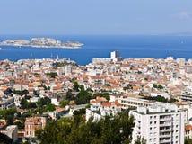 Porto di Marsiglia Francia e se castello Fotografia Stock Libera da Diritti
