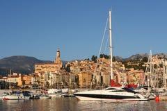 Porto di Menton, Francia dell'yacht Immagini Stock
