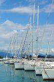 Porto di Moniga del Garda sulla polizia del lago, Italia Fotografia Stock