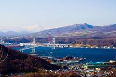 Porto di Muroran dal Mt Sokuryo, Hokkaido, Giappone Fotografie Stock Libere da Diritti