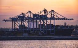 Porto di Napoli all'alba veduta dal mare Fotografia Stock