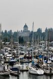 Porto di Olympia Washington durante il giorno freddo dell'autunno Fotografia Stock
