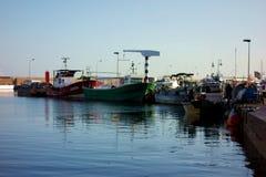 Porto di pesca al tramonto Immagini Stock