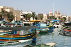 Porto di pesca di Marsaxlokk, Malta Fotografia Stock Libera da Diritti