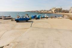 Porto di pesca di Pomorie in Bulgaria Fotografie Stock
