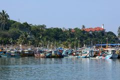 Porto di pesca di Matara nello Sri Lanka fotografie stock
