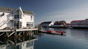 Porto di pesca pittoresco in Henningsvaer sulle isole di Lofoten, Norvegia video d archivio