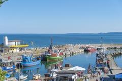 Porto di pesca in Sassnitz sull'isola della GEN del ¼ di RÃ fotografia stock
