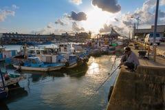Porto di pesca yung-an di Taiwan taoyuan dal tramonto Immagine Stock
