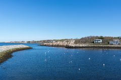 Porto di Rockport con il cielo blu e pulito Fotografia Stock