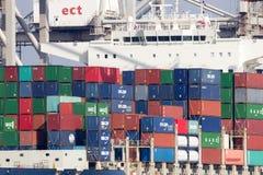 Porto di Rotterdam della nave porta-container Fotografie Stock