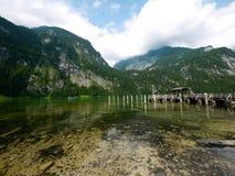 Porto di Salet nel lago Konigsee, Berchtesgaden fotografia stock libera da diritti