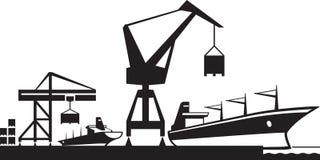 Porto di scalo merci illustrazione vettoriale