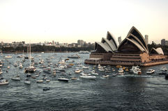 Porto di Sydney con panorama di casa di opera preso su 19 del febbraio 2007 durante la visita della nave da crociera della regina Fotografia Stock