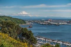 Porto di Tacoma e della montagna Immagini Stock Libere da Diritti