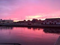 Porto di tramonto dello skagen Fotografia Stock
