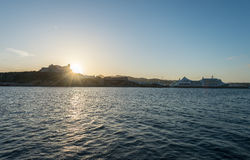 Porto di tramonto nella città di Ibiza, Isole Baleari immagine stock