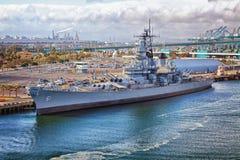 Porto di USS Iowa della nave da guerra di Los Angeles immagine stock