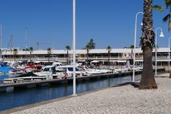 Porto di Villamoura, città del sud del Portogallo Vista laterale Fotografie Stock Libere da Diritti