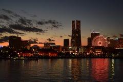 Porto di Yokohama con il Mt Fuji Immagine Stock