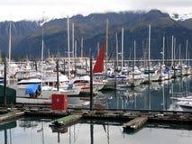 Porto do barco na baía Seward Alaska da ressurreição, EUA foto de stock